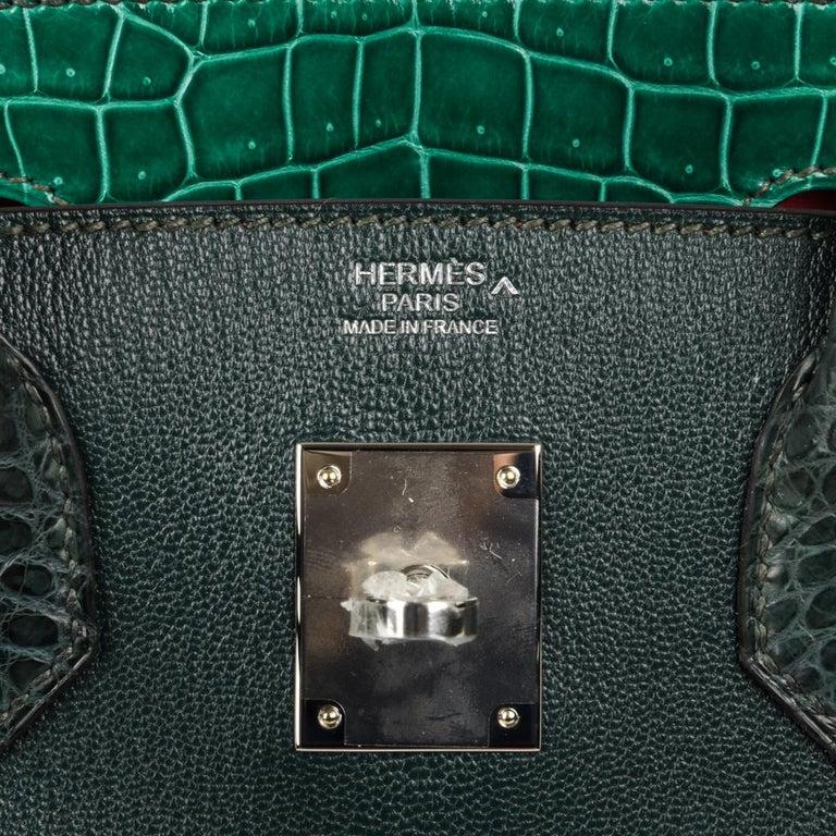 Hermes Birkin 30 Bag Limited Edition Camouflage Emerald Green Crocodile In New Condition In Miami, FL
