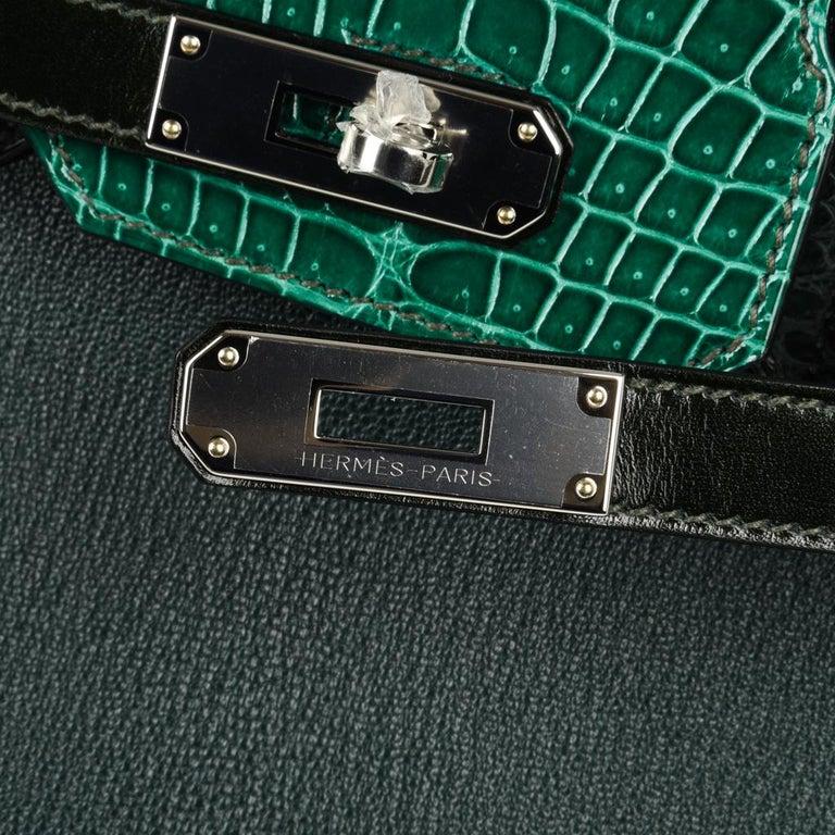 Hermes Birkin 30 Bag Limited Edition Camouflage Emerald Green Crocodile 2