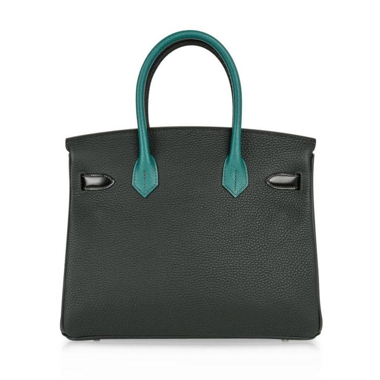 Hermes Birkin 30 Bag Limited Edition Camouflage Emerald Green Crocodile 15
