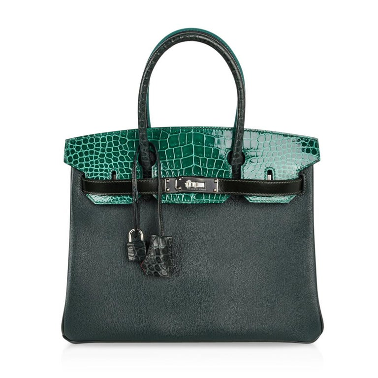 Guaranteed authentic Hermes Birkin 30 Limited Edition Patchwork in 4 shades of green and 6 skins. The exquisite shades of green are: Vert Fonce, Vert Emerald, Vert Titien, and Malachite. The interior pops in Rose Azalee. The unparalleled combination