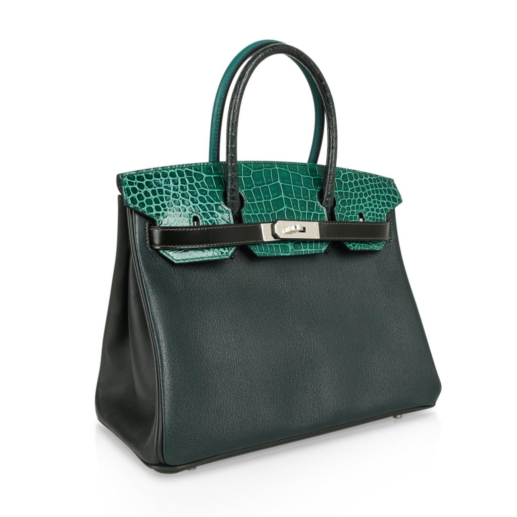 11a4d29c5a Hermes Birkin 30 Bag Limited Edition Patchwork Emerald Green Crocodile For  Sale at 1stdibs
