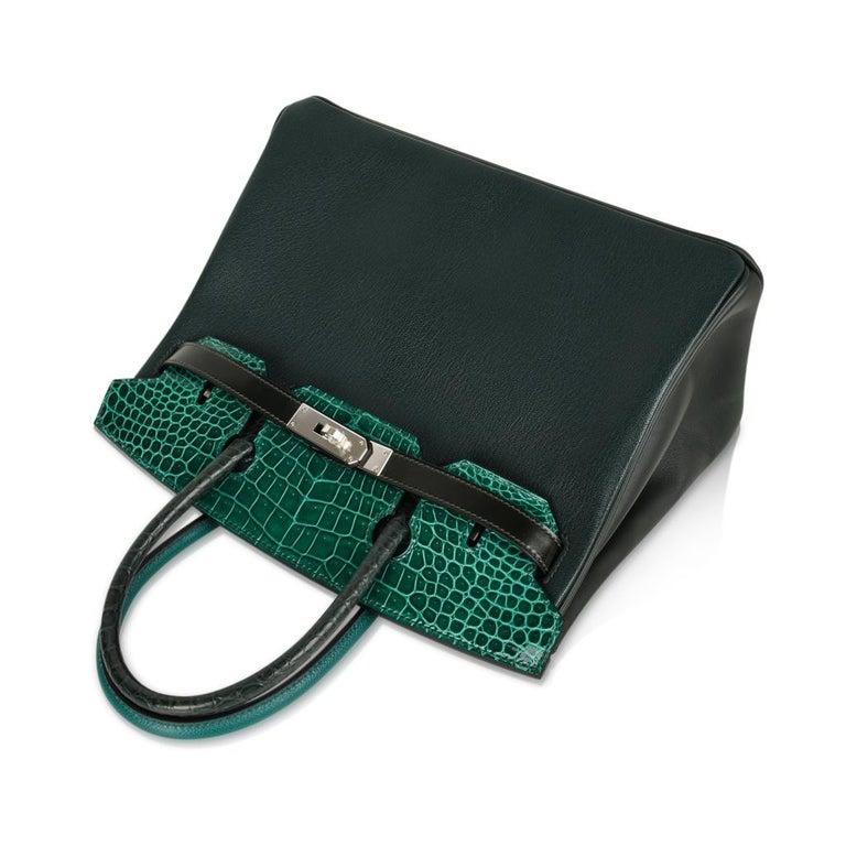 Hermes Birkin 30 Bag Limited Edition Camouflage Emerald Green Crocodile 7