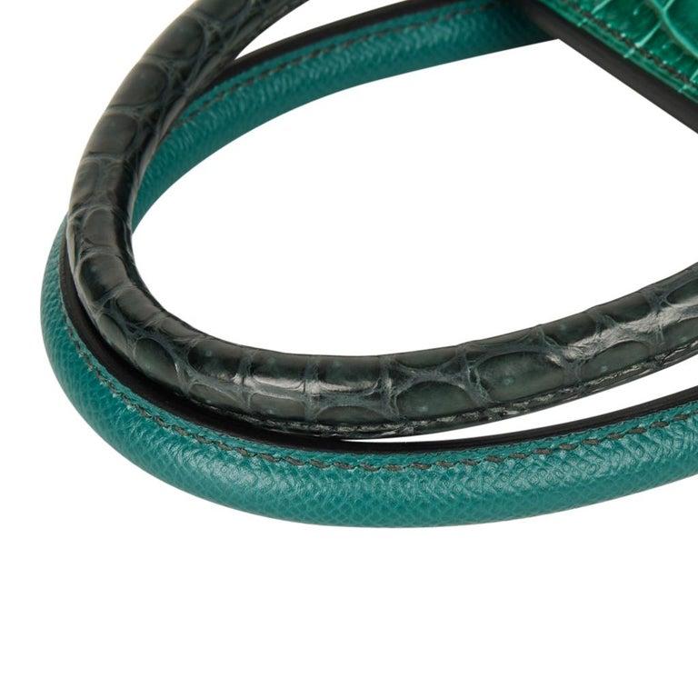 Hermes Birkin 30 Bag Limited Edition Camouflage Emerald Green Crocodile 10