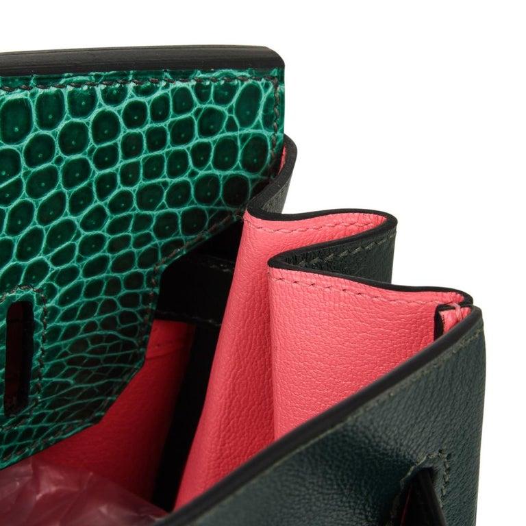 Hermes Birkin 30 Bag Limited Edition Camouflage Emerald Green Crocodile 14