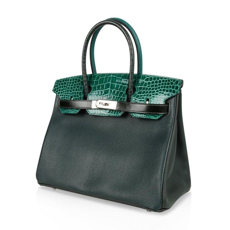 Hermes Birkin 30 Bag Limited Edition Camouflage Emerald Green Crocodile 8