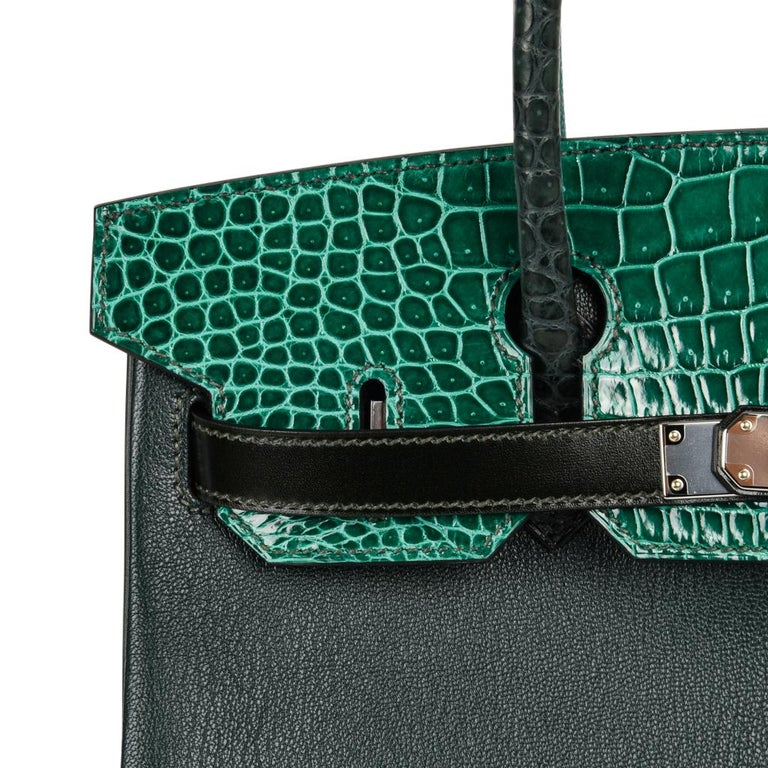 Hermes Birkin 30 Bag Limited Edition Camouflage Emerald Green Crocodile 11