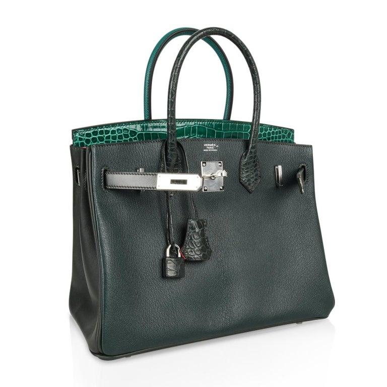 Hermes Birkin 30 Bag Limited Edition Camouflage Emerald Green Crocodile 12