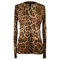 Dolce&Gabbana Cardigan Leopard Print Silk Sweater 46 Fits 8