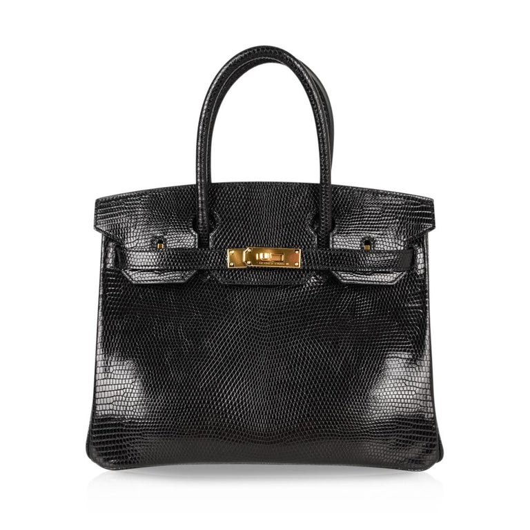 Hermes 30 Birkin Bag Black Lizard Gold Hardware RARE 9