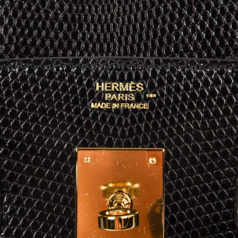 Hermes 30 Birkin Bag Black Lizard Gold Hardware RARE 4