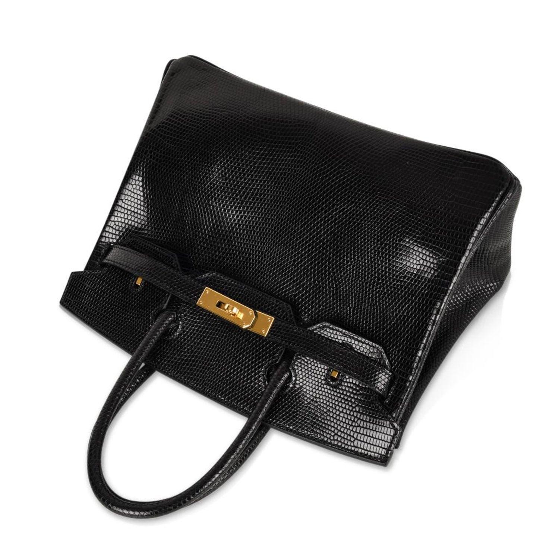 829a3f4a2db7 Hermes 30 Birkin Bag Black Lizard Gold Hardware RARE For Sale at 1stdibs