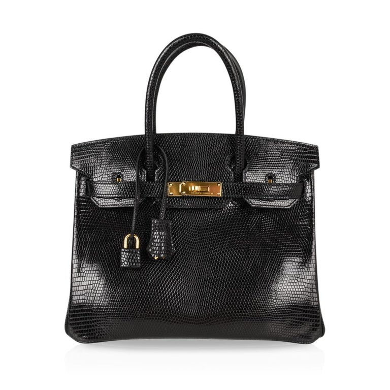Hermes 30 Birkin Bag Black Lizard Gold Hardware RARE 2