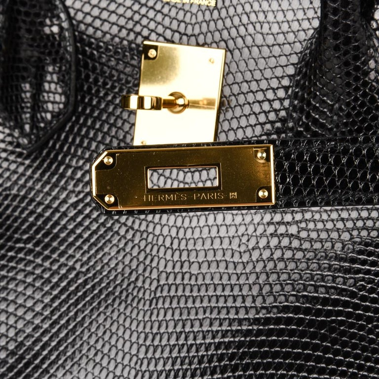 Hermes 30 Birkin Bag Black Lizard Gold Hardware RARE 5