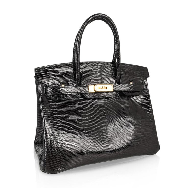 Hermes 30 Birkin Bag Black Lizard Gold Hardware RARE 8