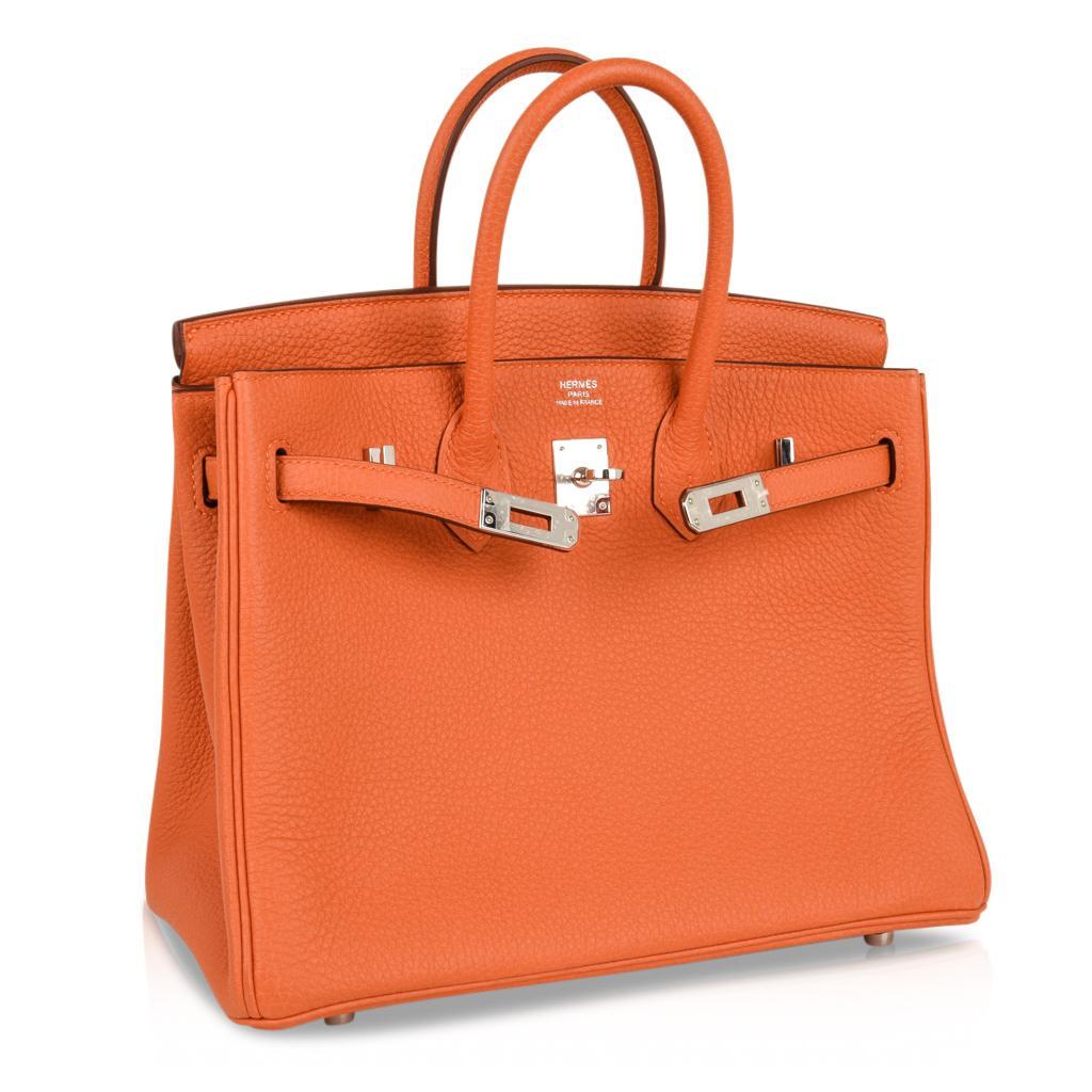 de390582e963 ... usa hermes birkin 25 bag iconic rare h orange treasure togo palladium  rare for sale at