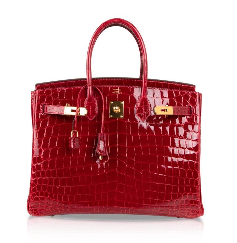 Hermes Braise Crocodile Gold Hardware Lipstick Red Birkin 35 Bag For Sale 2 c2a5cfaafa