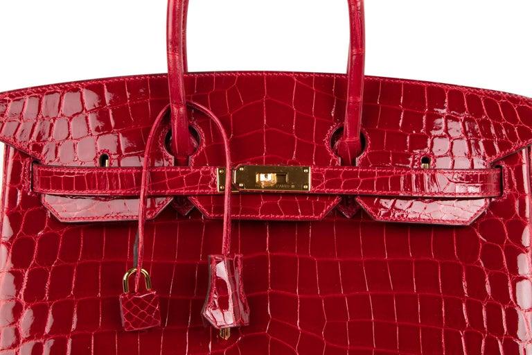 Hermes Braise Crocodile Gold Hardware Lipstick Red Birkin 35 Bag For Sale 3 1393003cea