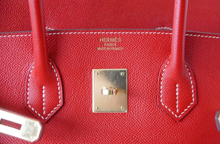 Hermes Rouge Casaque Candy Limited Edition Epsom Birkin 35 Bag  In Good Condition For Sale In Miami, FL
