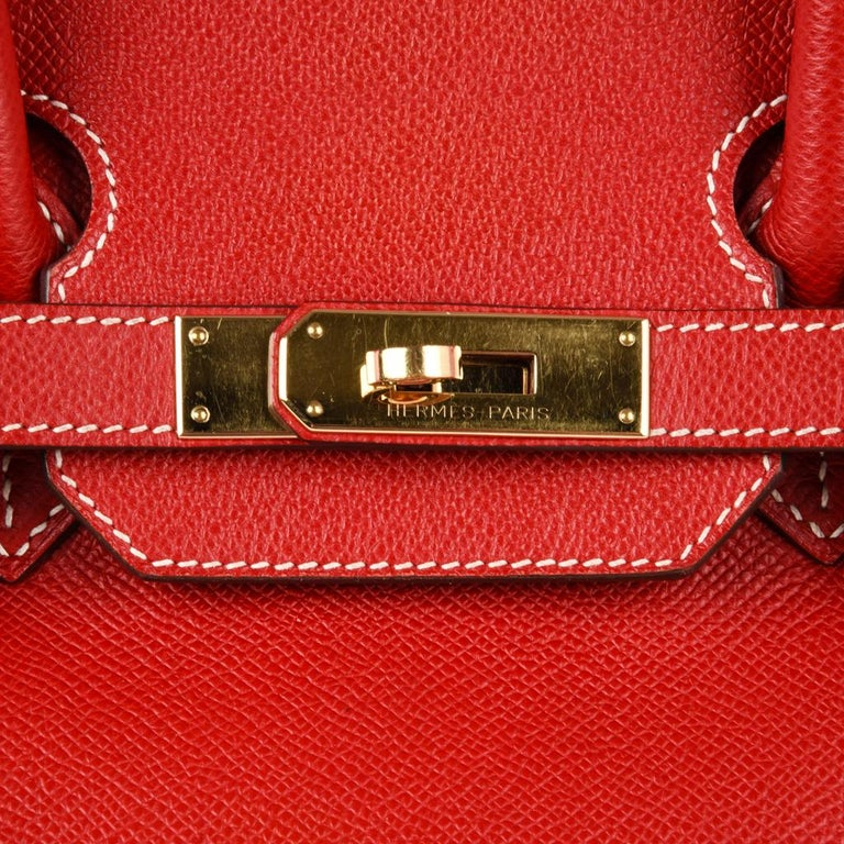 Hermes Rouge Casaque Candy Limited Edition Epsom Birkin 35 Bag  For Sale 9