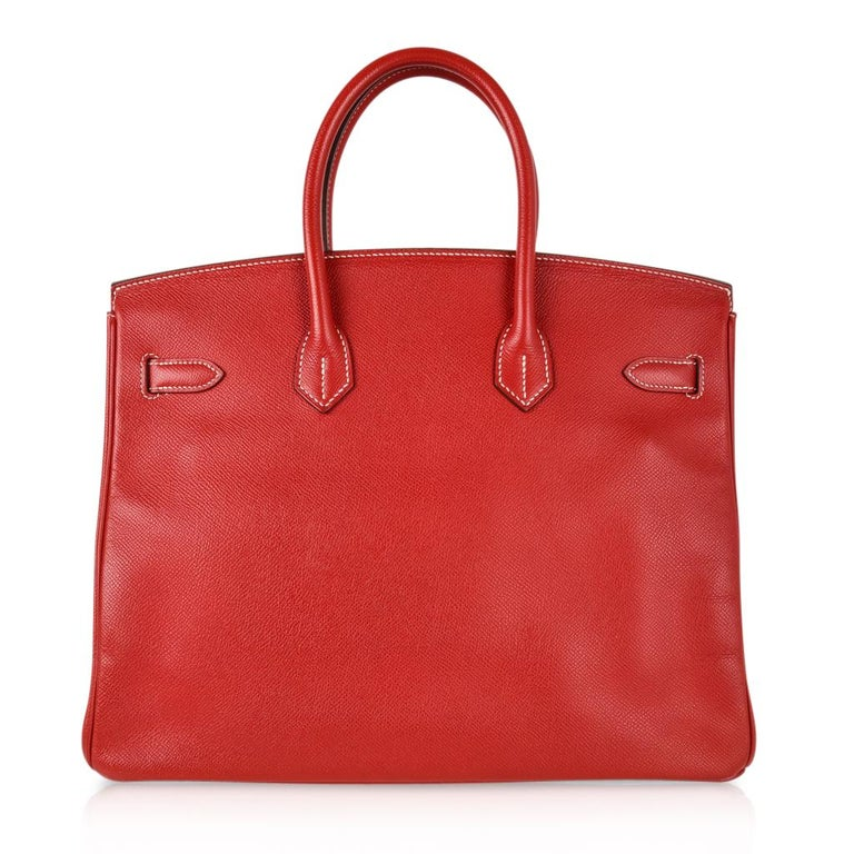 Hermes Rouge Casaque Candy Limited Edition Epsom Birkin 35 Bag  For Sale 7