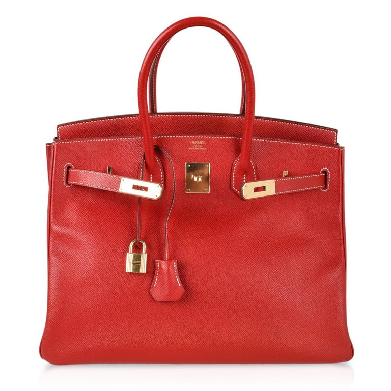 Women's Hermes Rouge Casaque Candy Limited Edition Epsom Birkin 35 Bag  For Sale