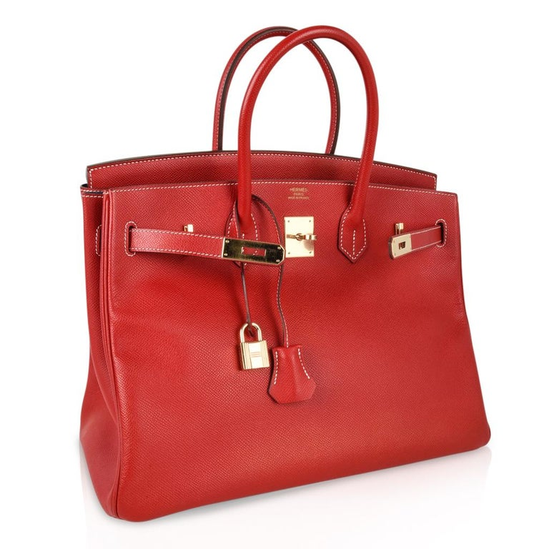 Hermes Rouge Casaque Candy Limited Edition Epsom Birkin 35 Bag  For Sale 2