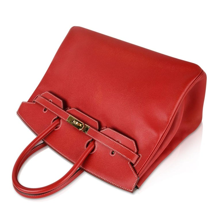 Hermes Rouge Casaque Candy Limited Edition Epsom Birkin 35 Bag  For Sale 4