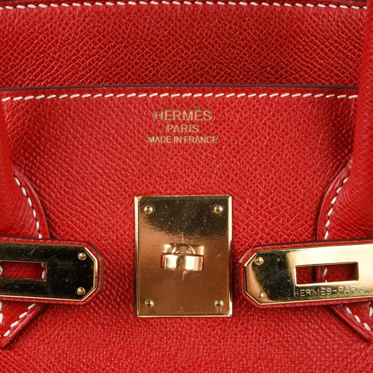 Hermes Rouge Casaque Candy Limited Edition Epsom Birkin 35 Bag  For Sale 8
