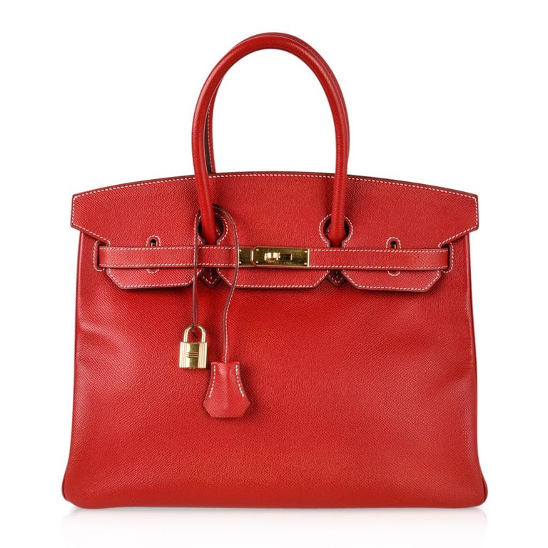 Hermes Rouge Casaque Candy Limited Edition Epsom Birkin 35 Bag  For Sale 6