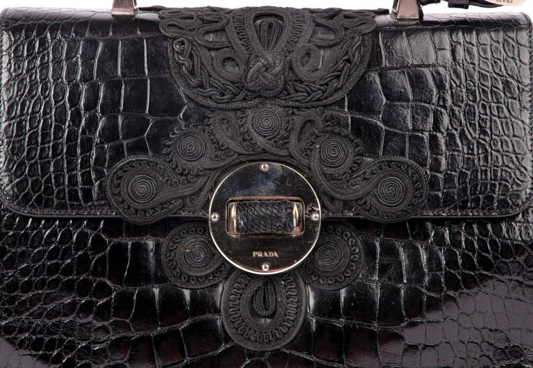 d78002065733 Guaranteed authentic vintage VERY rare Prada Black Alligator with  beautifully detailed Passementerie in black. Flat