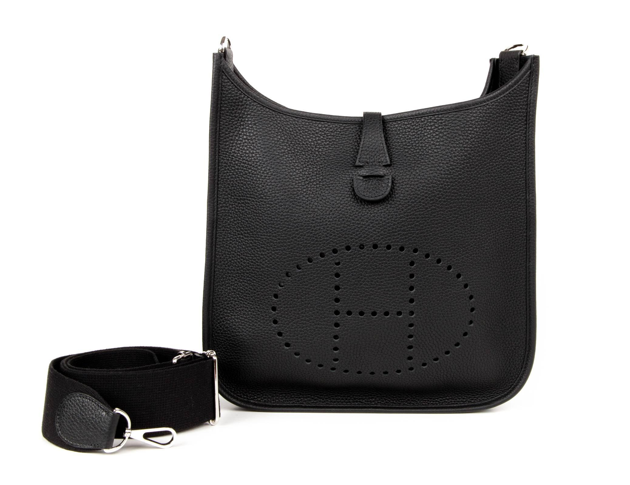 1e310b94a6 discount hermès evelyne pm crossbody bag a91f8 fe83b  uk coveted hermes  evelyne pm in jet black. fresh with clemence leather and palladium hardware