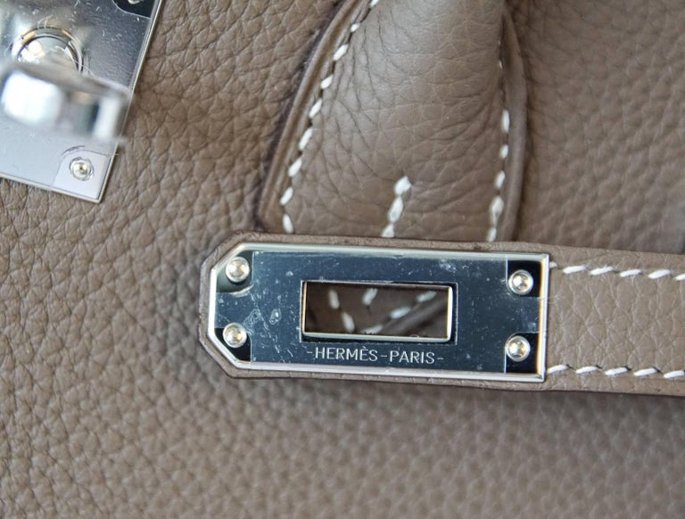 Gray Hermes Birkin 25 Bag Etoupe Neutral Togo Palladium Hardware For Sale be2ffc4e83e8e