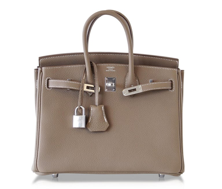 Hermes Birkin 25 Bag Etoupe Neutral Togo Palladium Hardware   For Sale 1