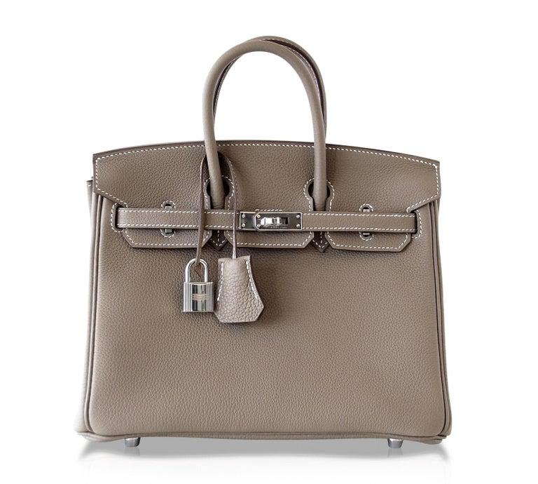 Hermes Birkin 25 Bag Etoupe Neutral Togo Palladium Hardware   For Sale 2
