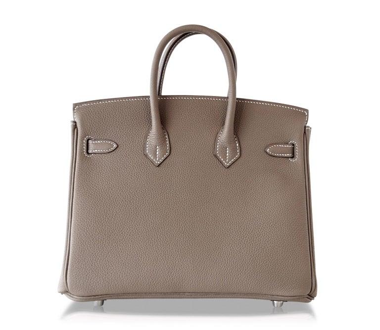 Hermes Birkin 25 Bag Etoupe Neutral Togo Palladium Hardware   For Sale 3