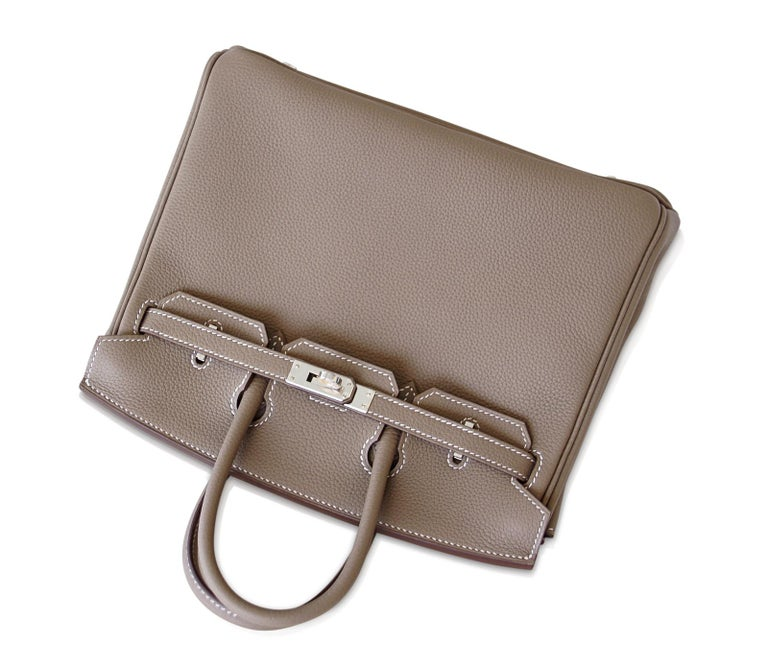 Women's Hermes Birkin 25 Bag Etoupe Neutral Togo Palladium Hardware   For Sale