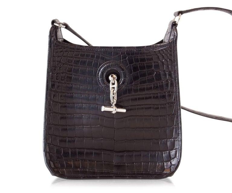 Hermes Vespa TPM Matte Black Crocodile Crossbody Shoulder Bag  For Sale 3
