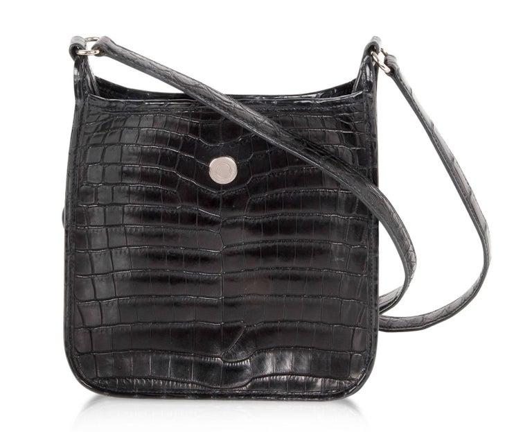 Hermes Vespa TPM Matte Black Crocodile Crossbody Shoulder Bag  For Sale 4