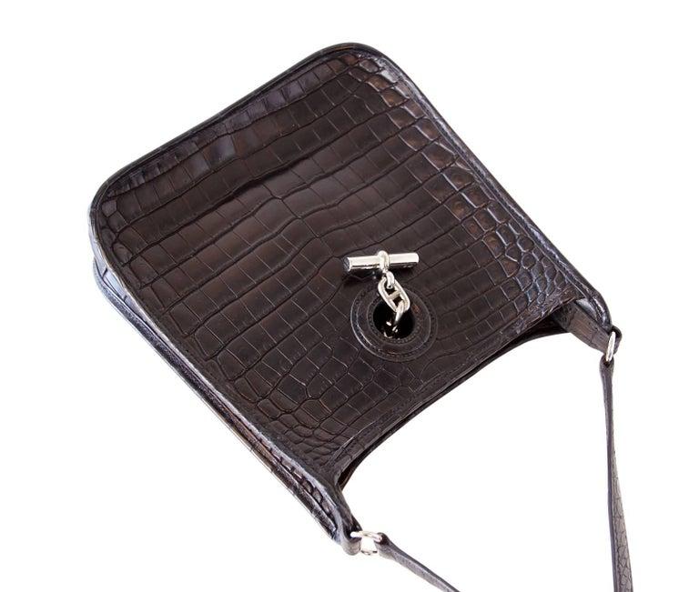 Women's Hermes Vespa TPM Matte Black Crocodile Crossbody Shoulder Bag  For Sale
