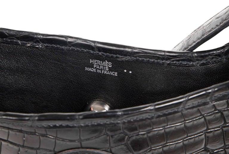 Hermes Vespa TPM Matte Black Crocodile Crossbody Shoulder Bag  For Sale 5