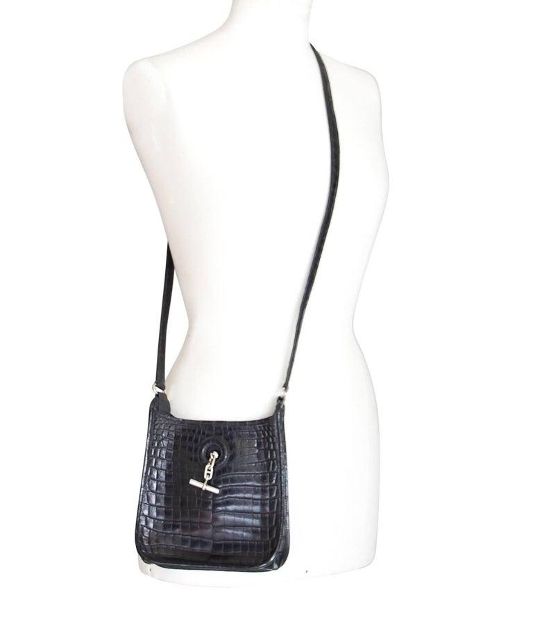 Hermes Vespa TPM Matte Black Crocodile Crossbody Shoulder Bag  For Sale 1