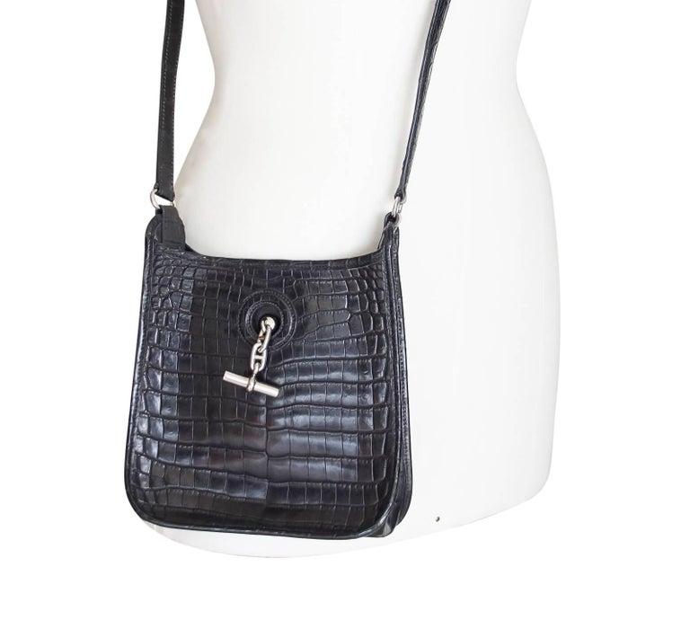 Hermes Vespa TPM Matte Black Crocodile Crossbody Shoulder Bag  For Sale 2