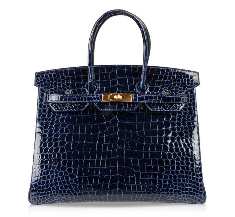 Hermes Birkin 35 Bag Blue Sapphire Porosus Crocodile Gold Hardware For Sale 3