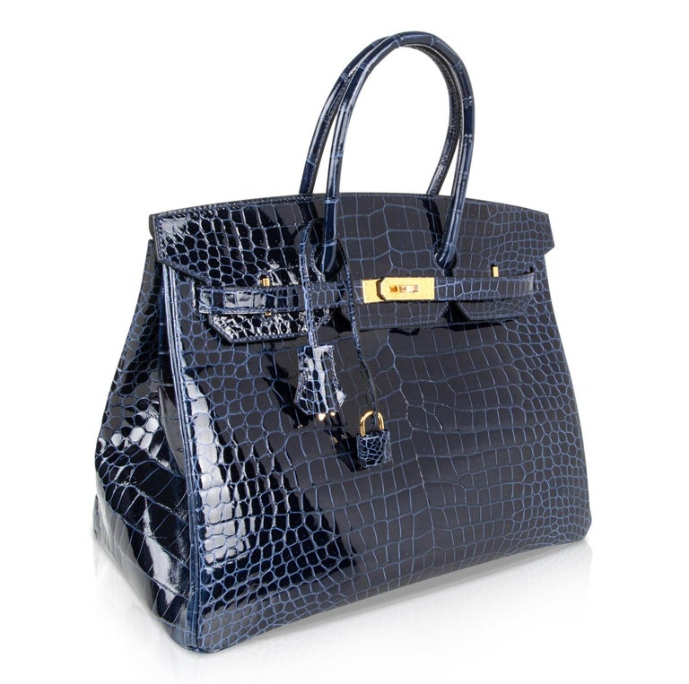 Women's Hermes Birkin 35 Bag Blue Sapphire Porosus Crocodile Gold Hardware For Sale