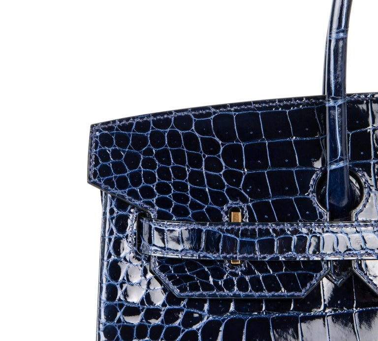 Hermes Birkin 35 Bag Blue Sapphire Porosus Crocodile Gold Hardware For Sale 2