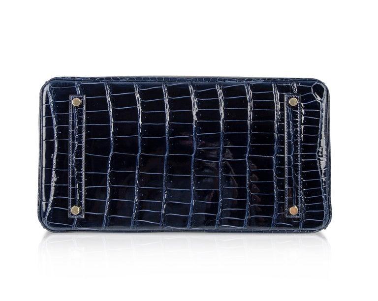 Hermes Birkin 35 Bag Blue Sapphire Porosus Crocodile Gold Hardware For Sale 6