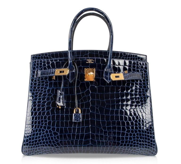 Hermes Birkin 35 Bag Blue Sapphire Porosus Crocodile Gold Hardware For Sale 1