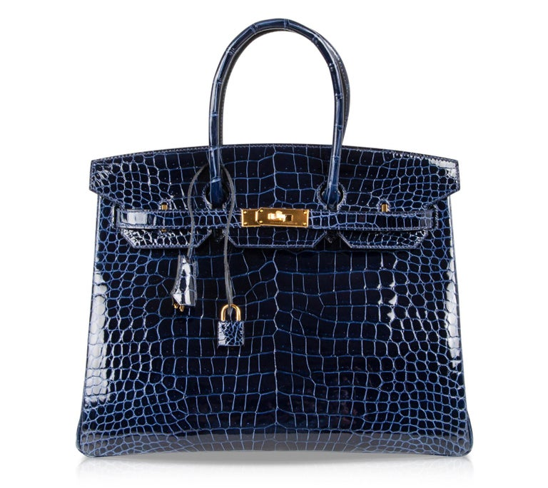 Hermes Birkin 35 Bag Blue Sapphire Porosus Crocodile Gold Hardware For Sale 4