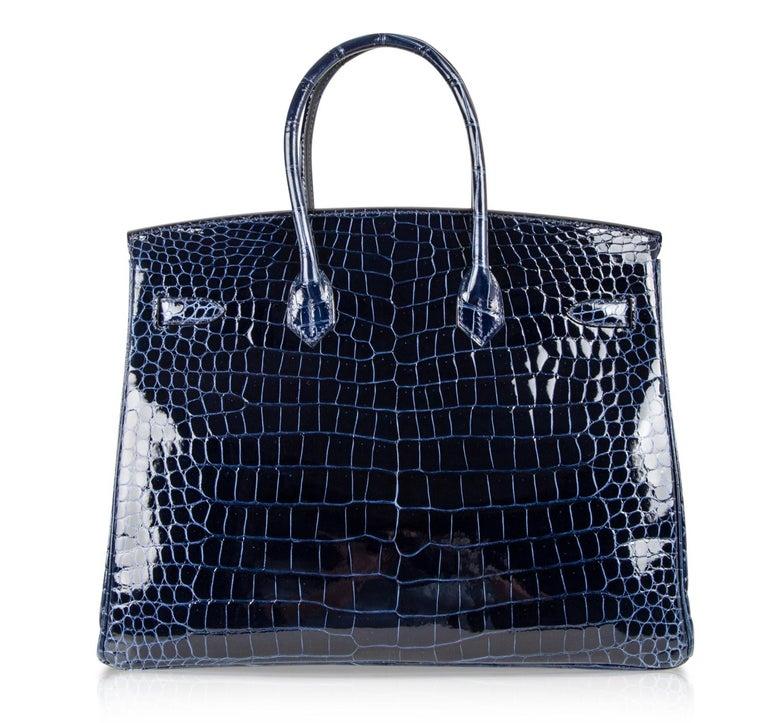 Hermes Birkin 35 Bag Blue Sapphire Porosus Crocodile Gold Hardware For Sale 5