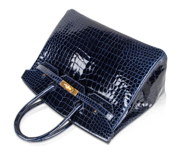 11e94350cd573 Hermes Birkin 35 Bag Blue Sapphire Porosus Crocodile Gold Hardware New In  New Condition For Sale